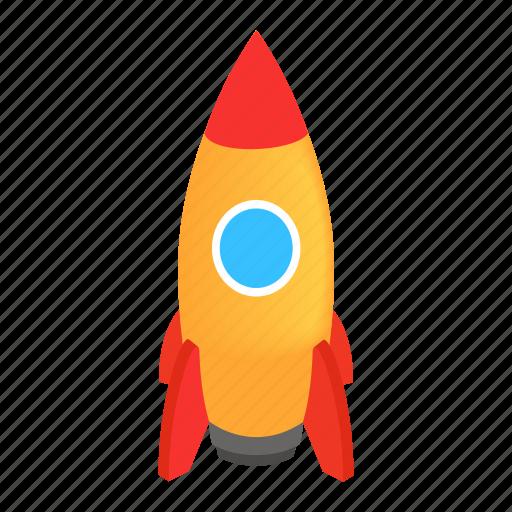Steel, isometric, rocket, space, travel, rocketship, spaceship icon