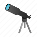 search, telescope, tool, isometric, discover, scope, spyglass