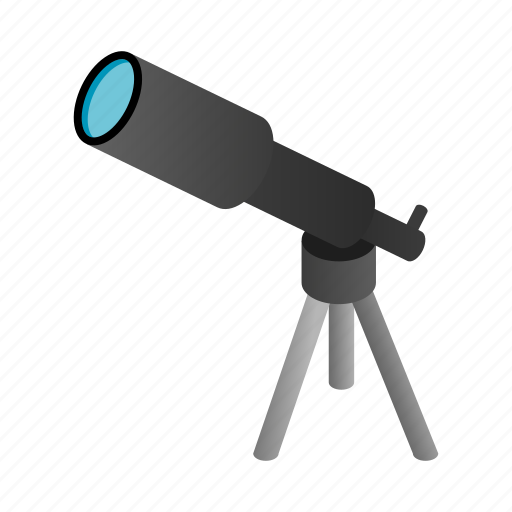 discover, isometric, scope, search, spyglass, telescope, tool icon