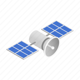 illustration, isometric, navigation, satellite, science, space, technology icon