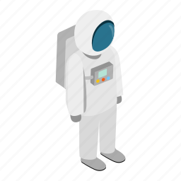 astronaut, cosmonaut, isometric, outer, space, spaceman, suit icon