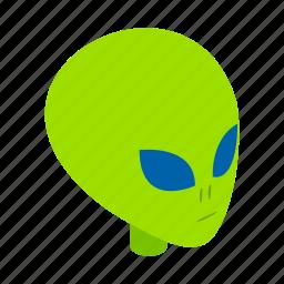 alien, face, head, illustration, isometric, monster, ufo icon