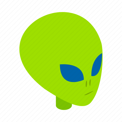 Head, monster, ufo, isometric, illustration, face, alien icon