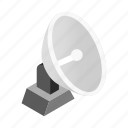 aerial, antenna, isometric, radar, satellite, station, tv icon