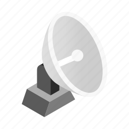 aerial, antenna, isometric, radar, satellite, station, tv icon
