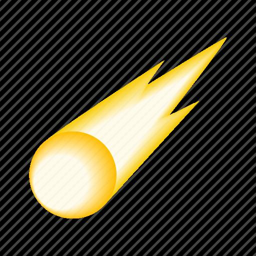 Isometric, meteorite, sparkle, meteor, comet, falling, fireball icon