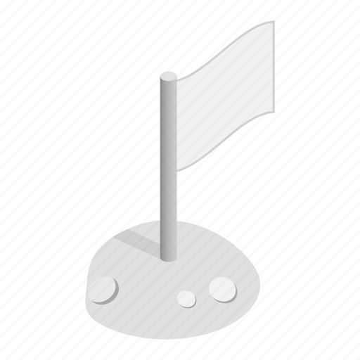 Isometric, space, moon, planet, flag, background, crater icon