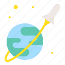 astronomy, earth, globe, orbit, planet, rocket, space icon