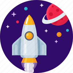 launch, planet, rocket, shuttle, space, star icon