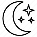 crescent, evening, moon, nighttime, stars icon