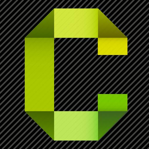 alphabet, c, folded, letter, origami, paper, ribbon icon
