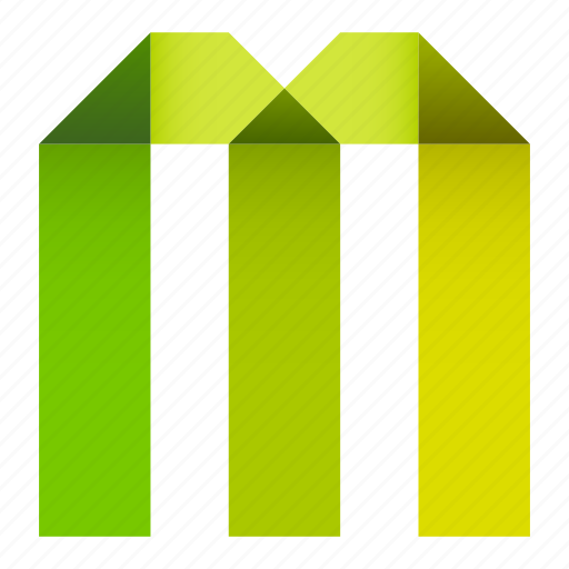 alphabet, folded, letter, m, origami, paper, ribbon icon