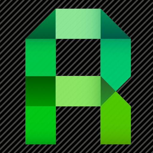 alphabet, folded, letter, origami, paper, r, ribbon icon