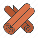 canella, cinnamon, condiment, flavor, seasoning, spice, stick icon