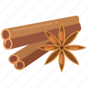 cinnamon, ingredient, ingredients, spice, spices, sticks, star anise icon