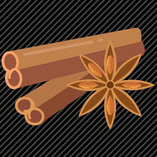 cinnamon, ingredient, ingredients, spice, spices, star anise, sticks icon