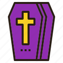 coffin, cross, death, halloween icon