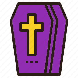 coffin, cross, death, halloween icon
