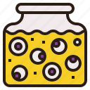 eyeball, halloween, jar, scary, spooky icon
