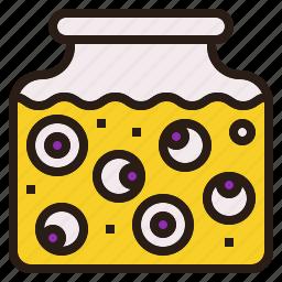 eyeball, halloween, jar, scary, spooky icon