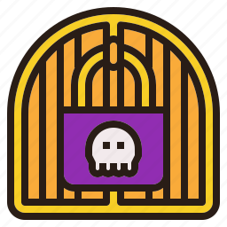 door, halloween, lock, mistery, secret, skull icon