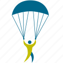 athlete, extreme, game, gravity, man, olympic, parachute, parachuting, person, play, player, skydiving, sport, sports icon