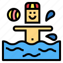 people, polo, sport, swimming, water icon