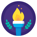 achievement, award, badge, fire, olimpic, sport, triumph icon
