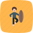 surf, surf board, surfer icon
