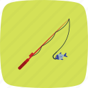 caught, fish, fishing, rod icon