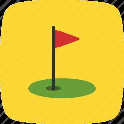 flag, golf, golf club, golfing icon
