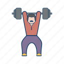 barbell, guy, heavy, magnesium, man, power, training icon
