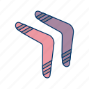 boomerang, boomerange, fun, game, kangaroo, primitive, reverse icon