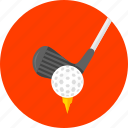 ball on, course, golf, golf club, hole, spin, tee icon