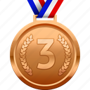 bronze, medal, third, third place, award, prize icon