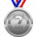achievement, award, medal, prize, second place, silver icon