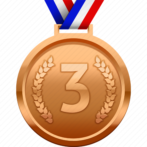 award, bronze, medal, prize, third, third place icon