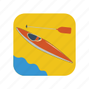 boat, canoe, cartoon, kayak, paddle, river, sport icon