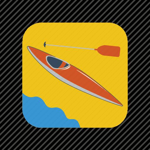 boat, canoe, cartoon, kayak, paddle, river, sport icon