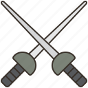 epee, fencing, sabre, sport, sword icon