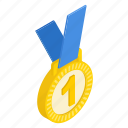 achievement, first, gold, isometric, medal, place, prize icon
