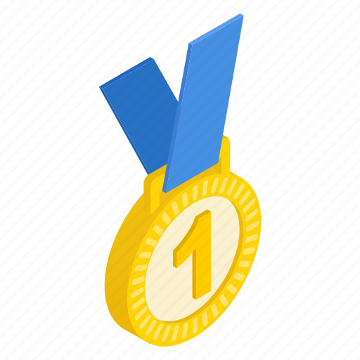 Isometric, prize, gold, place, medal, achievement, first icon