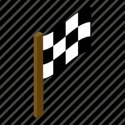 finish, finishing, flag, isometric, motocross, race, speed icon