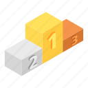 achievement, ceremony, isometric, pedestal, podium, third, winner icon