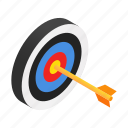 accuracy, arrow, dartboard, isometric, strategy, success, target