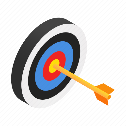accuracy, arrow, dartboard, isometric, strategy, success, target icon