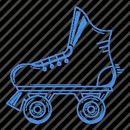 equipment, roller, roller skating, rollerskating, skate, sport icon