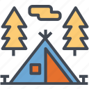 activities, camping, family, outdoor, tent icon