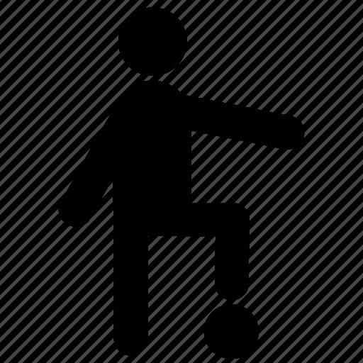 football, footballer, people, sport, sportsman, stick, stickman icon