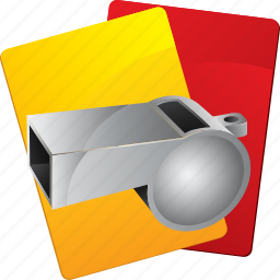 cards, judge, play, red, sport, whistle, yellow icon